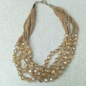 Gold bead glass and cork 20 in necklace